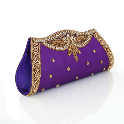 Designer Raw Silk Purple Clutch with Beaded Work