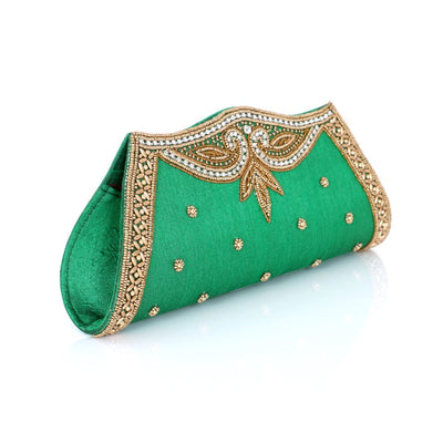 Designer Raw Silk Green Clutch with Beaded Work