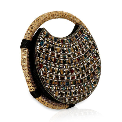 Designer Round Clutch Metal Handle with stone Work