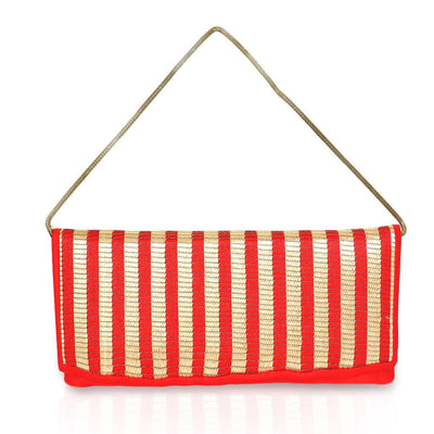 Designer Raw Silk Red Clutch with Stripe Design