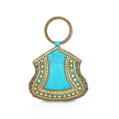 Bangle Type Blue Clutch with Beaded Work