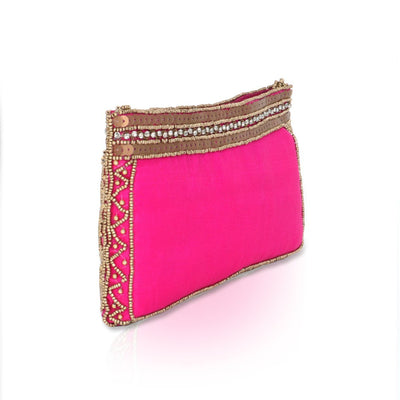 Designer Pink Purse with Beads and Stones
