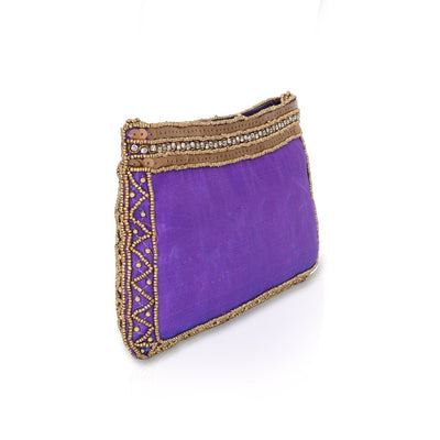 Designer Violet Purse with Beads and Stones