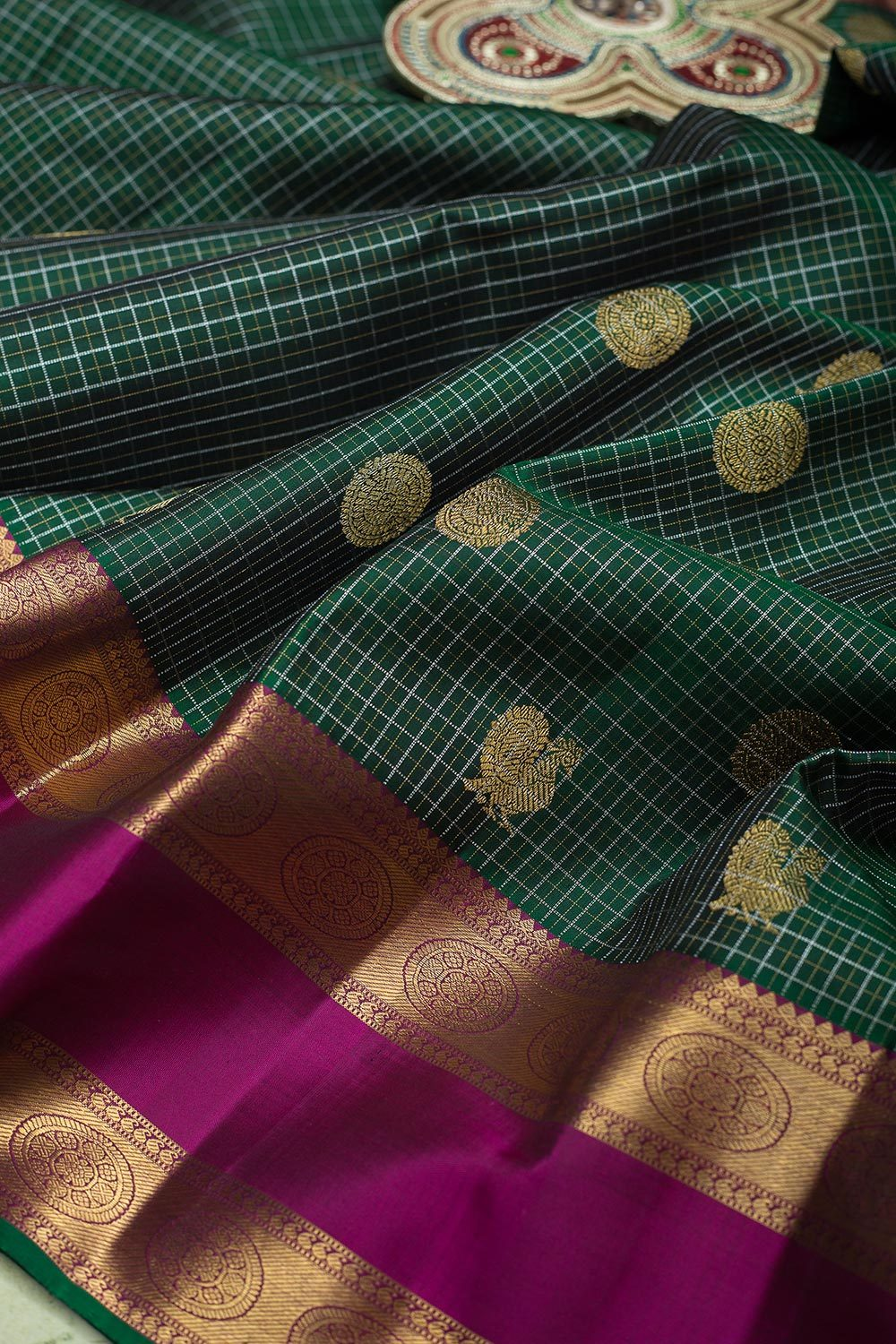 kanjivaram Silk Saree Dark Green with Buttas and Purple with Mandala Zari border