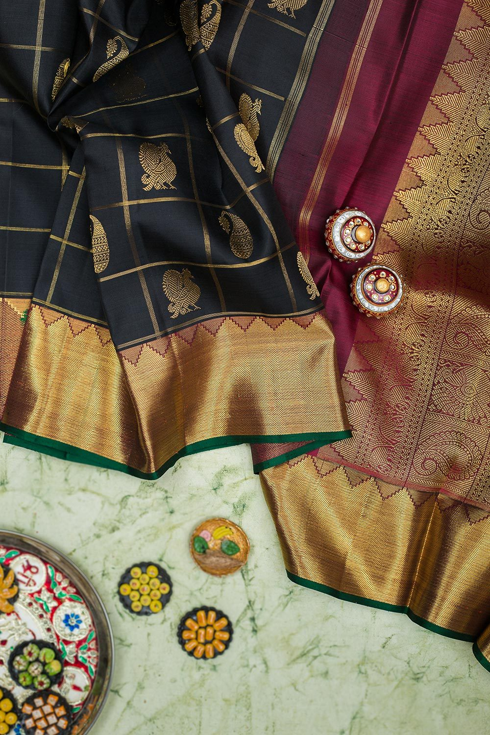 kanjivaram Silk Saree Black Zari Checks with Buttas and Green with Temple Zari border