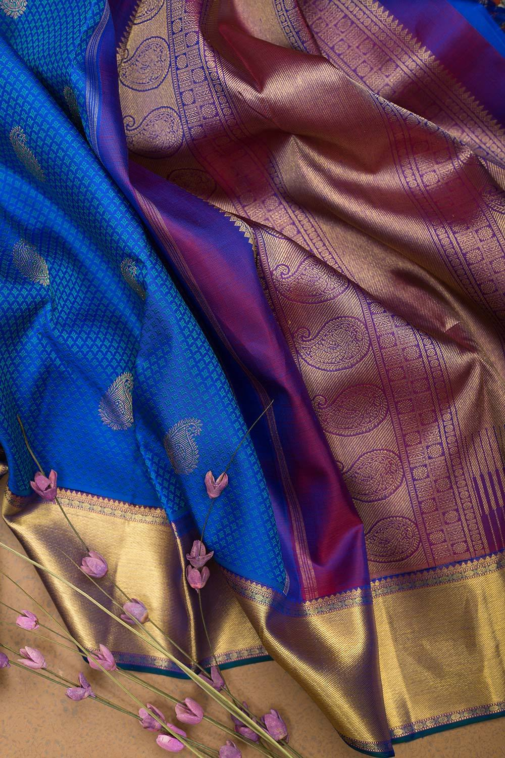 kanjivaram Silk Saree Berry Blue with Mango buttas and Zari border