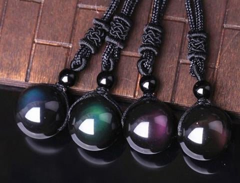 Rainbow eye obsidian necklace anjuna lane as an obsidian stone it is a powerful cleanser of psychic smog created within your aura and is a strong psychic protection stone aloadofball Choice Image