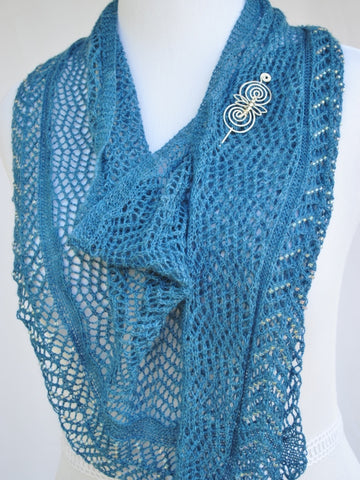 Beadazzled Knit Shawl with Dragonfly Pin