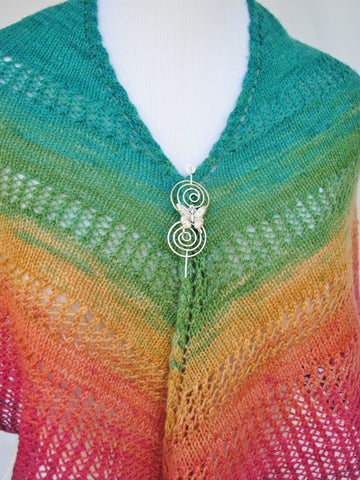 Apparent Plot Triangle Shawl with Butterfly Shawl Pin 2