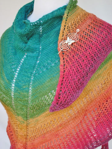 Apparent Plot Triangle Shawl with Butterfly Shawl Pin 3