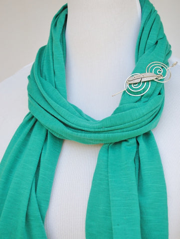 Woven Scarf with Feather Shawl Pin 3
