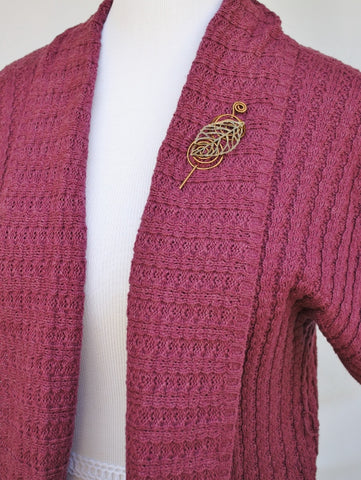 Cardigan with Bronze Leaf Shawl Pin