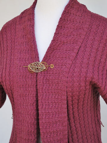 Cardigan with Bronze Leaf Shawl Pin 2