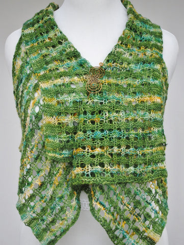 Suavest Hues Knit Vest with Bronze Butterfly Shawl Pin 2
