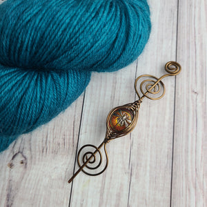 Dragonfly Czech Glass Shawl Pins - Noteworthy Bronze - Limited Edition!
