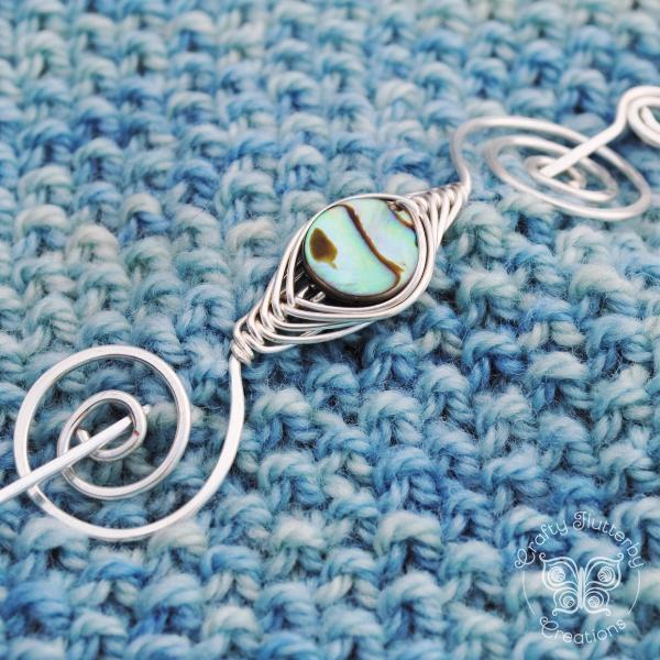 Archived, Abalone Shell Shawl Pin - Noteworthy Natural Silver - Crafty Flutterby Creations