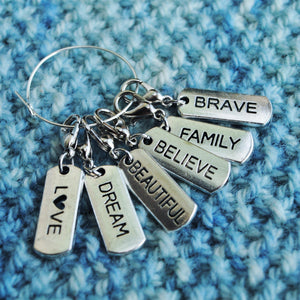 Useful Accessories, Affirmations Progress Keepers, Stitch Markers, or Zipper Pulls - Crafty Flutterby Creations