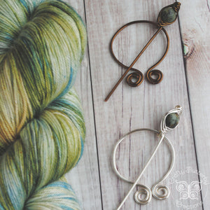 African Turquoise Penannular Shawl Pin in Silver or Vintage Bronze-Shawl Pin-Crafty Flutterby Creations