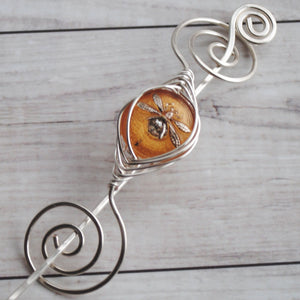Shawl Pin, Pre-Order - Amber Dragonfly Shawl Pin- Noteworthy Czech Glass - Limited Edition - Crafty Flutterby Creations