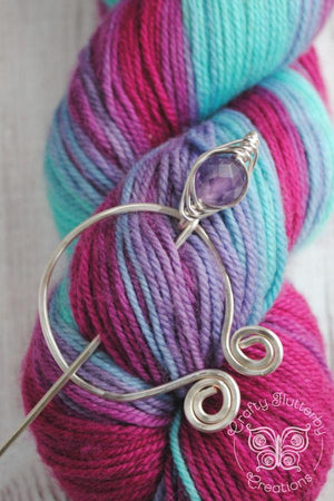 Shawl Pin, Amethyst Penannular Shawl Pin in Silver or Vintage Bronze - Crafty Flutterby Creations