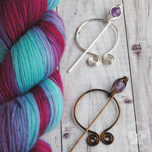 Amethyst Penannular Shawl Pin in Silver or Vintage Bronze-Shawl Pin-Crafty Flutterby Creations