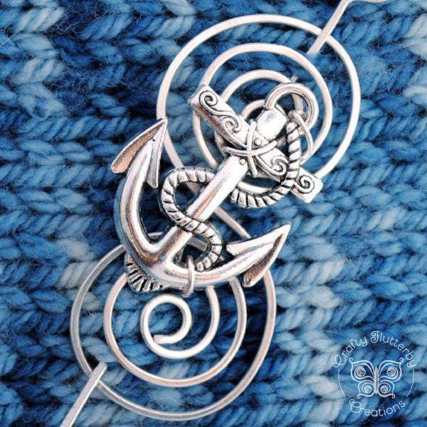 Shawl Pin, Anchor Shawl Pin - Charmed Silver - Crafty Flutterby Creations