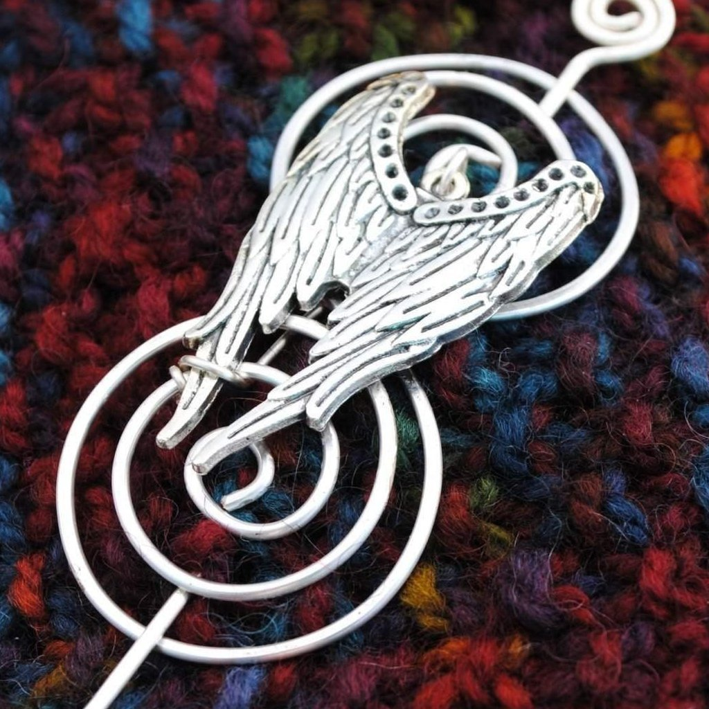 Angel Wings Shawl Pin - Charmed Silver - Crafty Flutterby Creations