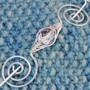 Shawl Pin, April Birthstone Shawl Pin - Noteworthy Birthstone Silver - Crafty Flutterby Creations