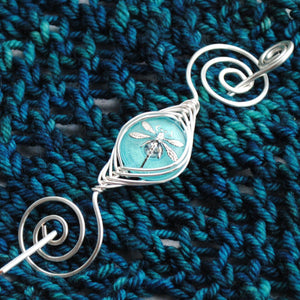 Shawl Pin, Aqua Dragonfly Shawl Pin- Noteworthy Czech Glass - Limited Edition - Crafty Flutterby Creations