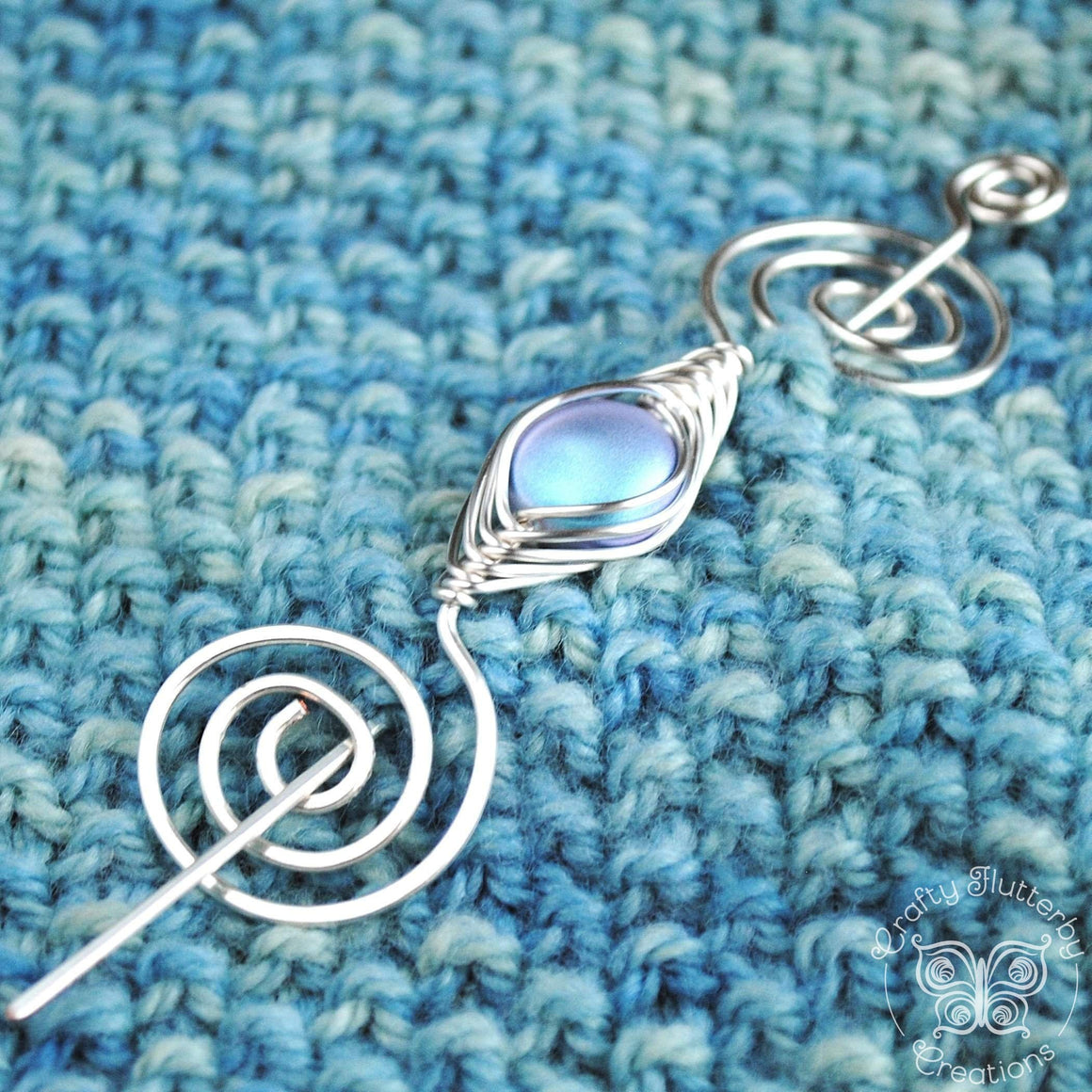 Shawl Pin, Aqua Lilac Shimmer Shawl Pin - Noteworthy Classic - Crafty Flutterby Creations