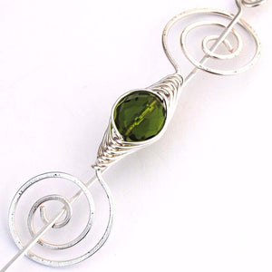Shawl Pin, August Peridot Shawl Pin - Noteworthy Birthstone Silver - Crafty Flutterby Creations
