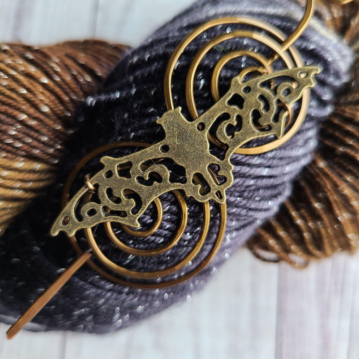 Bat Shawl Pin - Charmed Vintage Bronze-Shawl Pin-Crafty Flutterby Creations