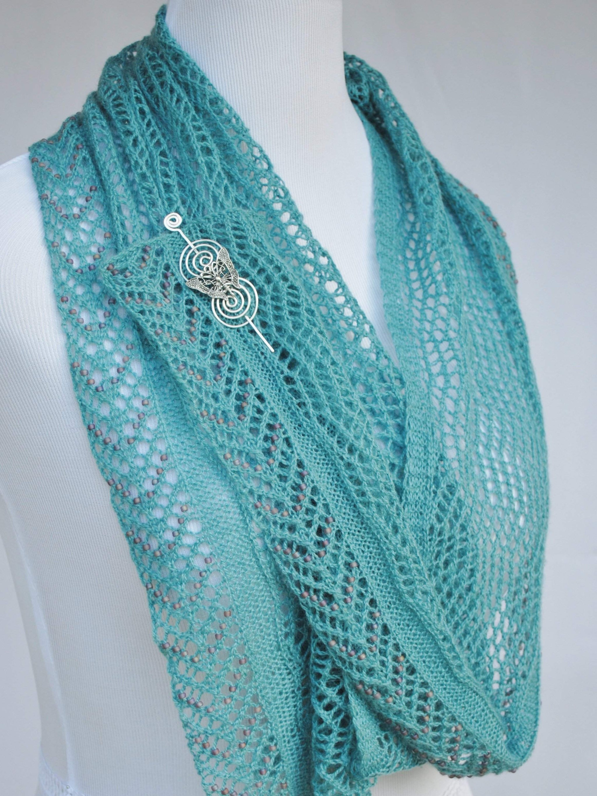 Beadazzled Beaded Lace Shawl Knitting Pattern PDF Download - Crafty ...