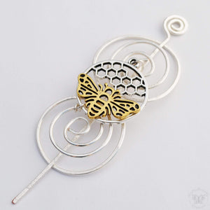 Shawl Pin, Pre-Order - Bee Shawl Pin - Charmed Silver and Gold - Crafty Flutterby Creations