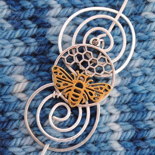 Shawl Pin, Bee Shawl Pin - Charmed Silver and Gold - Crafty Flutterby Creations