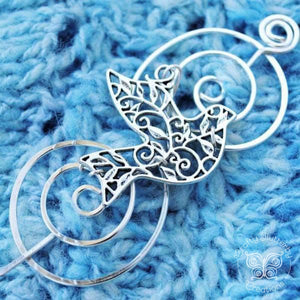 Shawl Pin, Bird Shawl Pin - Charmed Silver - Crafty Flutterby Creations