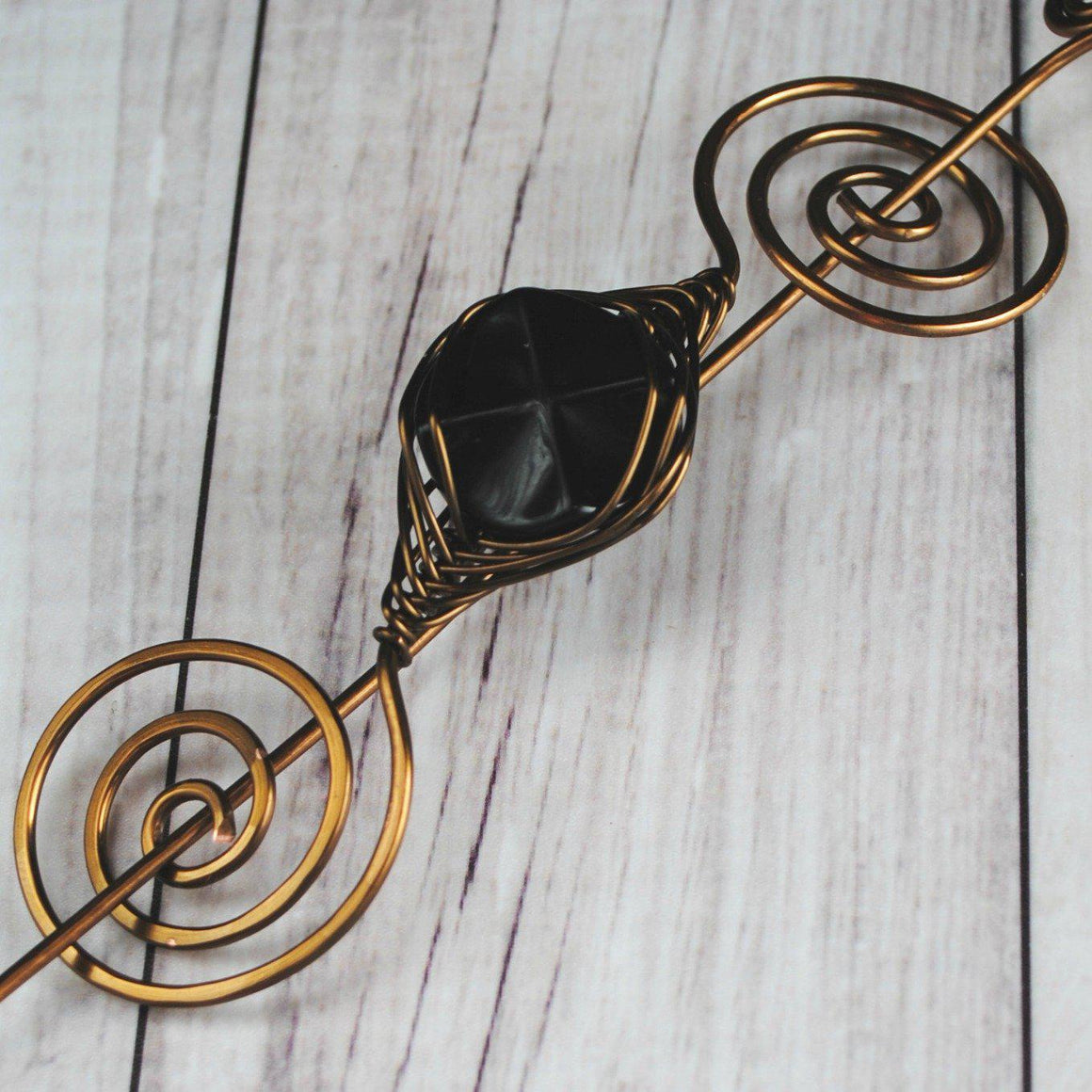 Shawl Pin, Black Glass Shawl Pin - Large Bronze - Crafty Flutterby Creations