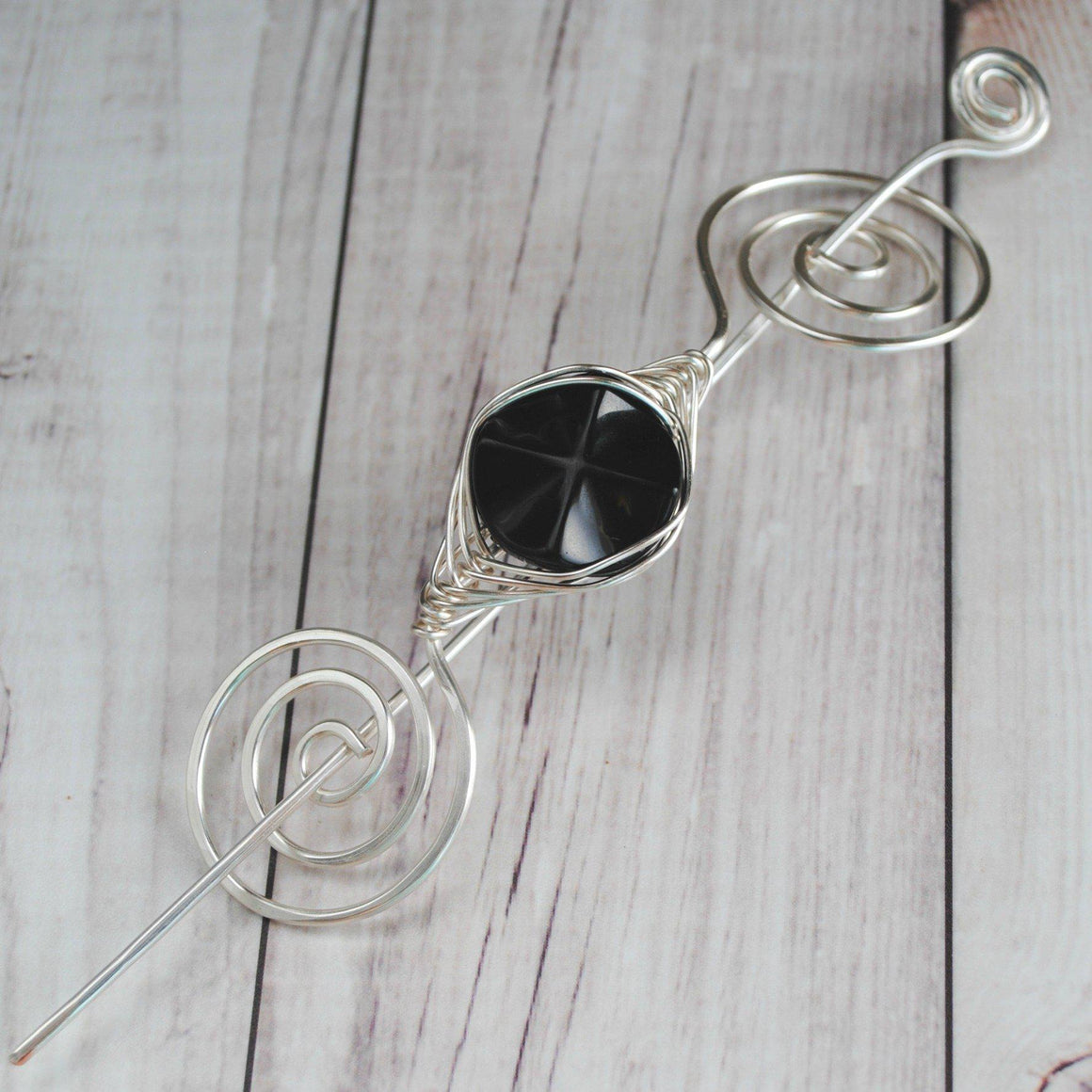 Shawl Pin, Black Glass Shawl Pin - Large Silver - Crafty Flutterby Creations