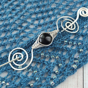 Black Shimmer Shawl Pin - Noteworthy Classic-Shawl Pin-Crafty Flutterby Creations