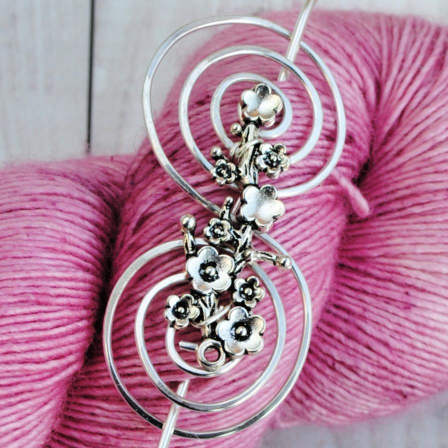 Blossoming Shawl Pin - Charmed Silver-Shawl Pin-Crafty Flutterby Creations