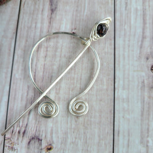 Brown Penannular Shawl Pin in Silver-Shawl Pin-Crafty Flutterby Creations