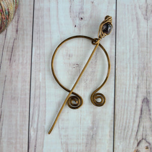 Brown Penannular Shawl Pin in Vintage Bronze-Shawl Pin-Crafty Flutterby Creations