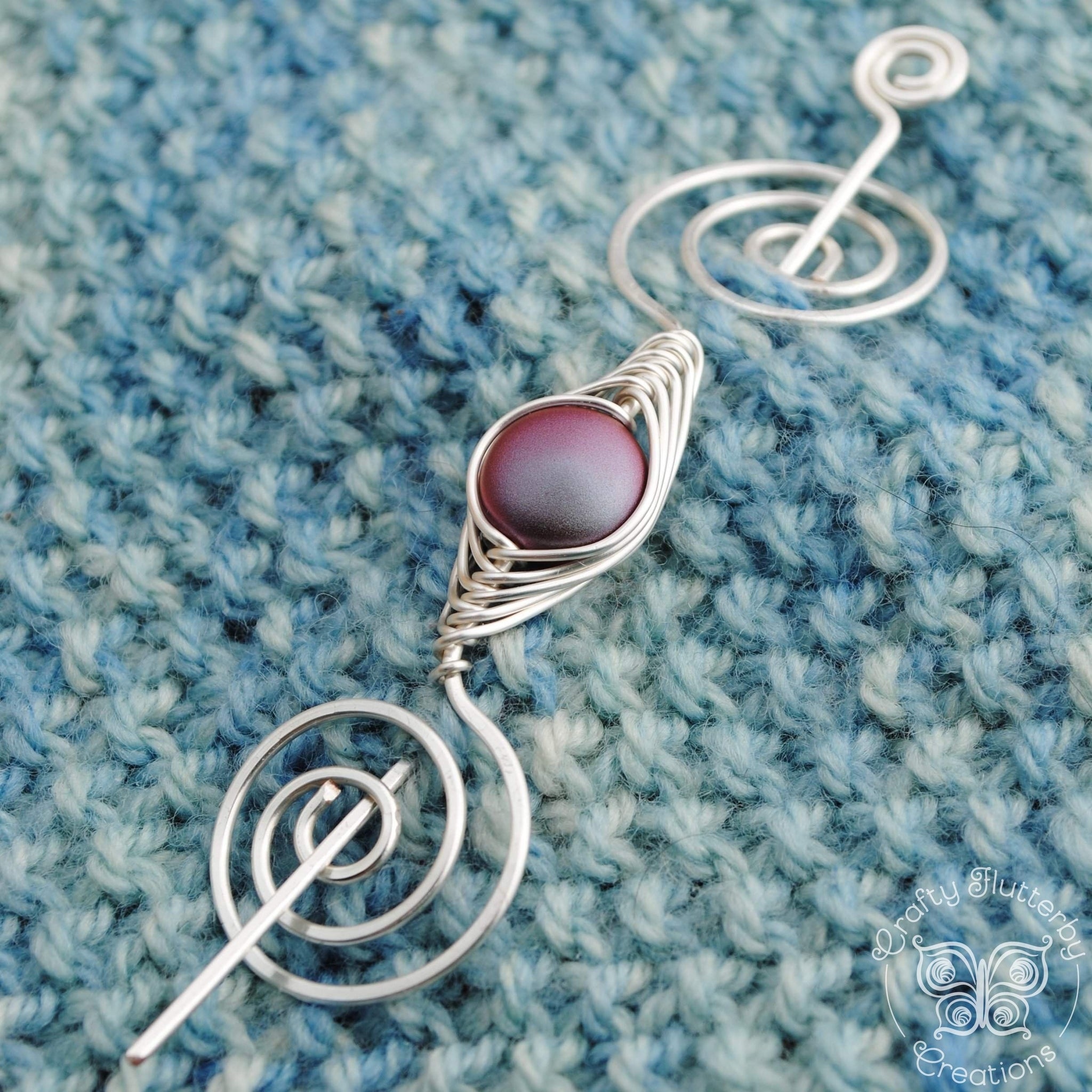 Burgundy Shawl Pin Silver and Red Pearl Hair Pin Silver Wire Wrapped Shawl Pin
