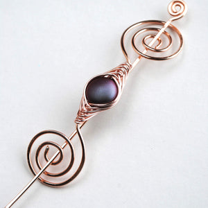 Shawl Pin, Burgundy Shimmer Shawl Pin - Rose Gold Noteworthy Classic - Crafty Flutterby Creations