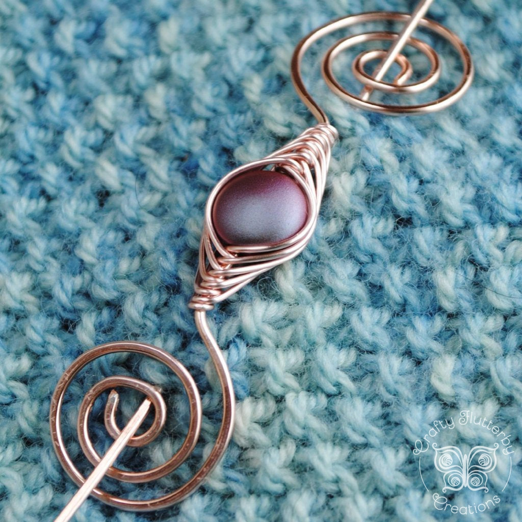 Burgundy Shimmer Shawl Pin - Rose Gold Noteworthy Classic-Shawl Pin-Crafty Flutterby Creations