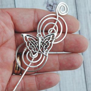 Shawl Pin, Butterfly Celtic Knot Shawl Pin - Charmed Silver - Crafty Flutterby Creations