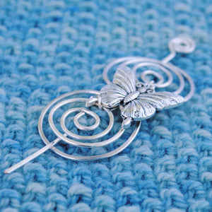 Shawl Pin, Butterfly Shawl Pin - Charmed Silver - Crafty Flutterby Creations