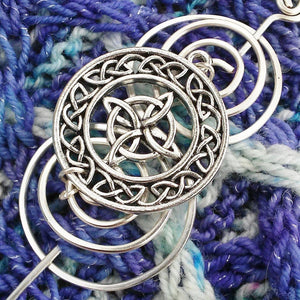 Celtic Circles Knot Shawl Pin - Charmed Silver-Shawl Pin-Crafty Flutterby Creations
