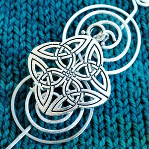 Shawl Pin, Celtic Knot Quaternary Shawl Pin - Charmed Silver - Crafty Flutterby Creations