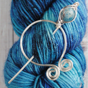 Shawl Pin, Pre-Order - Celtic Penannular Shawl Pin in Silver or Vintage Bronze - Crafty Flutterby Creations